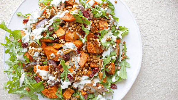 Cinnamon-Roasted Sweet Potato Salad with Cranberries & Pecans