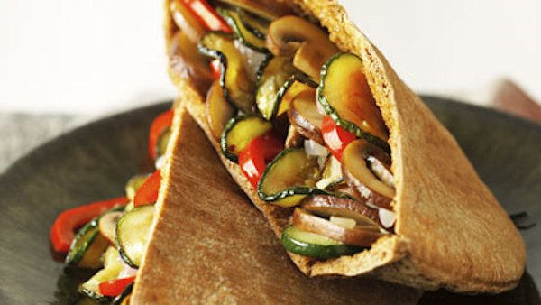 Sauteed Vegetables in Whole Wheat Pita