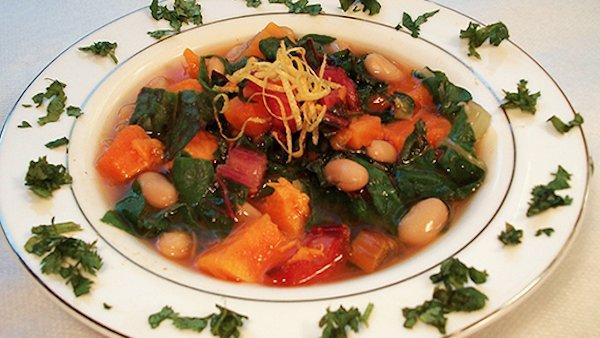 Chef AJ: Sweet Potato Soup with Cannelini Beans & Rainbow Chard