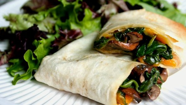 Mushroom, Spinach, and Vegan Cheddar Wraps