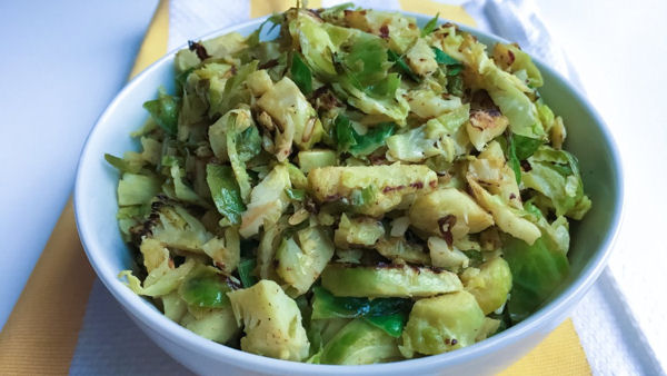 Shredded Lemon and Garlic Brussels Sprouts