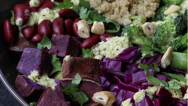 purple and green salad