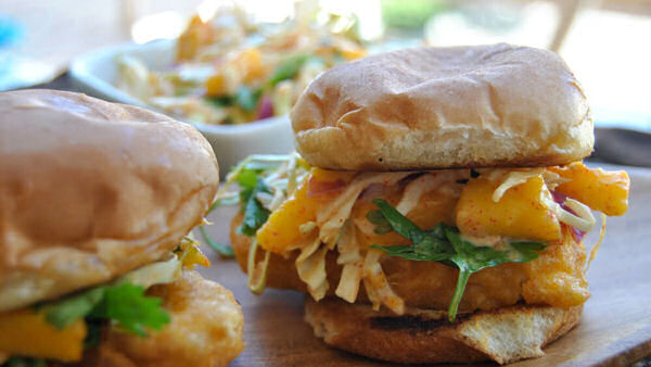 Fishless Sliders with Mango Slaw