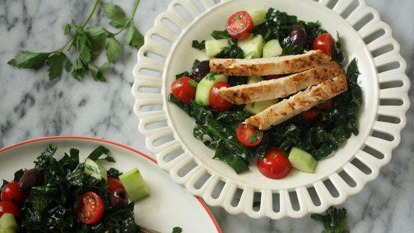 Kale Greek Salad with Chick'n