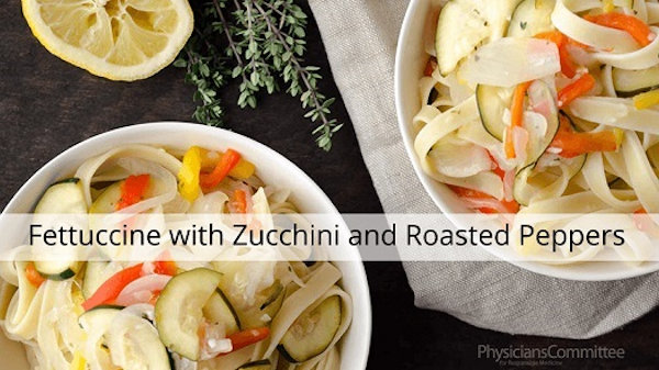 Vegan Recipe: Fettuccine with Zucchini and Roasted Peppers