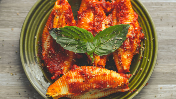 Vegan Recipe: Hummus Stuffed Baked Shell Pasta